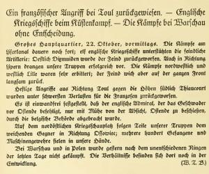 22. 10.14 Ypern Pages from Amtliche Kriegs-Depeschen nach Berichten des Wolff'schen Telegr.-Bureaus vol. 1